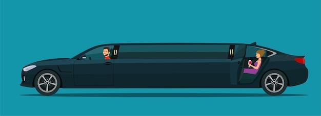 Samochód limuzyna z kierowcą i kobietą na tylnym siedzeniu z otwartymi drzwiami. ilustracja wektorowa.