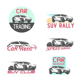 Samochód logo emblemat szablon projektu ilustracji wektorowych