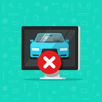 Samochód lub pojazd z dezaprobowanym znakiem na komputerze lub alert diagnostyczny dotyczący błędnego błędu samochodu
