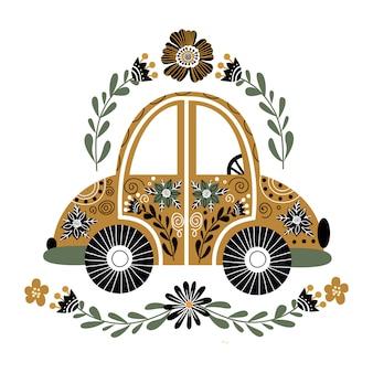 Samochód ludowy z dużą ilością kwiatowych elementów