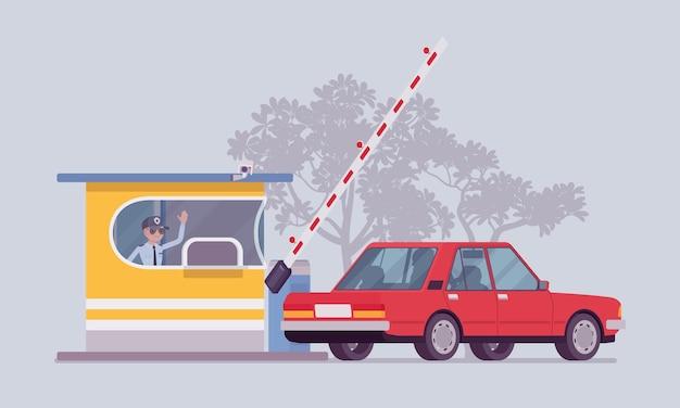 Samochód na budce poboru opłat w płaskiej konstrukcji