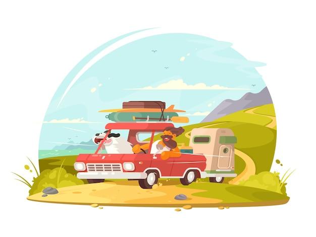 Samochód na wakacjach. mężczyzna z psem jedzie na wakacje.