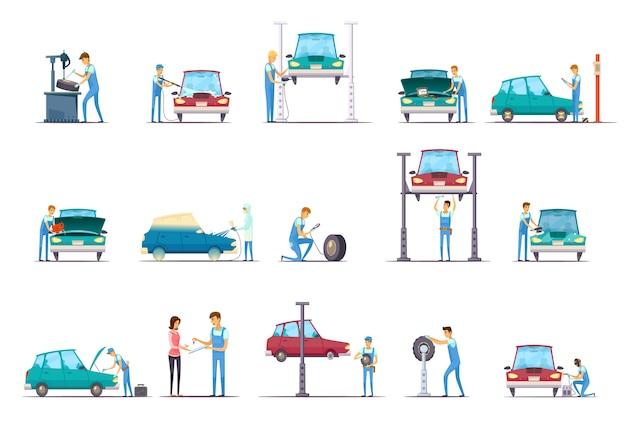 Samochód naprawy garażu usługi retro kreskówki ikony inkasowe z pojazdu dźwignięciem i auto mechanikiem odizolowywają