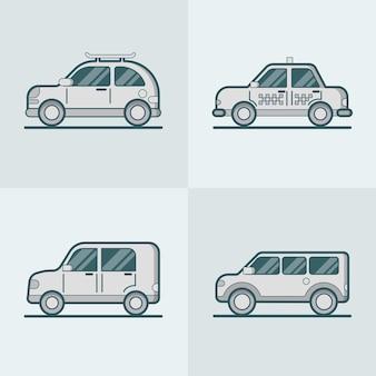 Samochód osobowy van suv taxi lineart