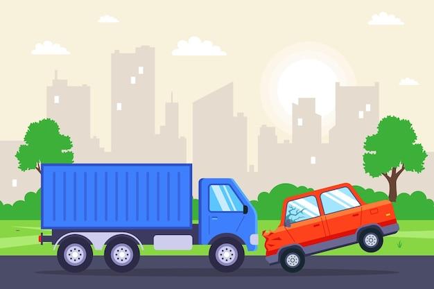 Samochód osobowy zderzył się z ciężarówką. płaska ilustracja