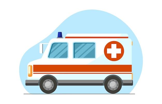 Samochód pogotowia transport szpitalny symbol samochodu ratownika medycznego widok z boku koncepcja medyczna