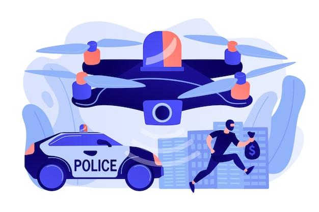 Samochód policyjny i dron śledzący złodzieja w masce z pieniędzmi i miejscem zbrodni
