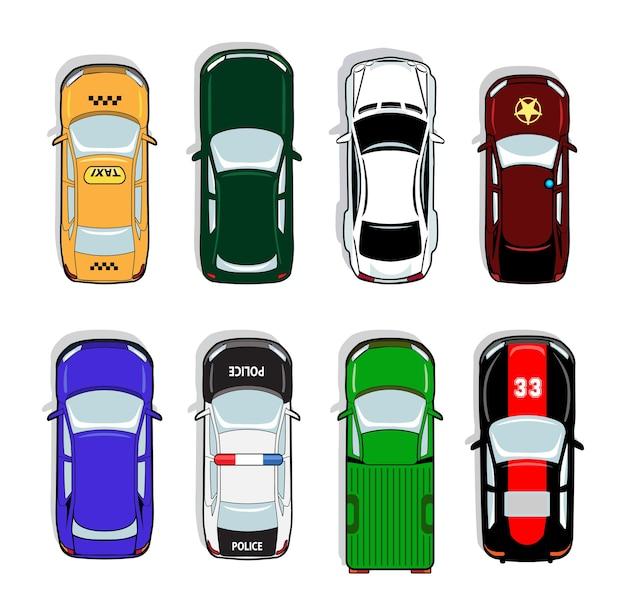Samochód policyjny i taksówka, samochód sportowy i sedan. znak transportu, auto, napęd i symbol