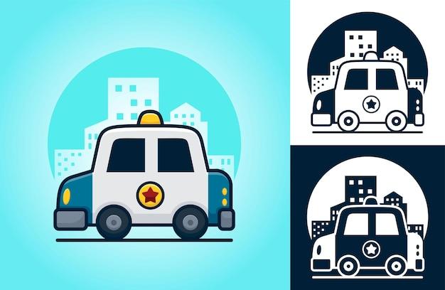 Samochód policyjny na tle budynków. ilustracja kreskówka w stylu ikony płaski