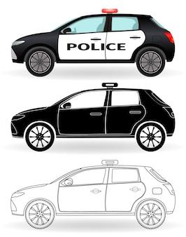 Samochód policyjny w kolorze, czarna sylwetka, kontur na białym tle. pojazd patrolowy w trzech różnych stylach.