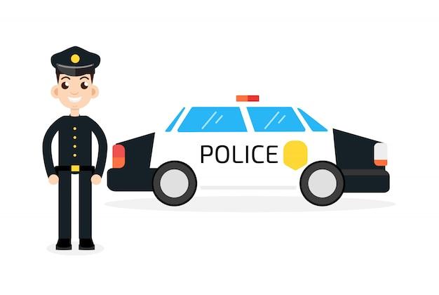 Samochód policyjny z policjantem