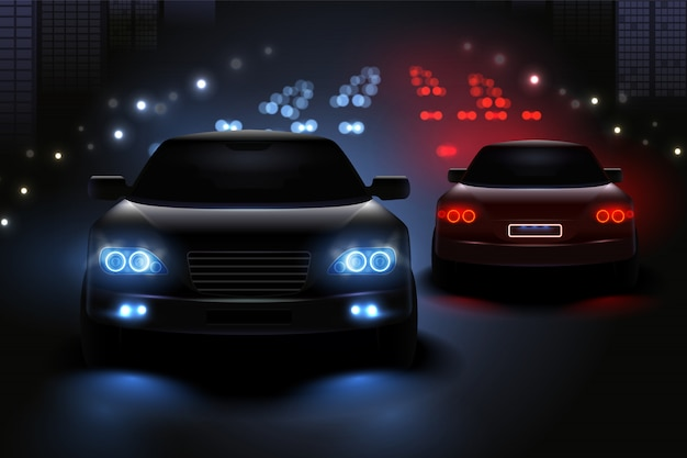 Samochód prowadzący zaświeca realistycznego skład z widokiem nocy drogi i sylwetkami samochodów światła ruchu ilustracyjni