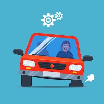 Samochód przebił koło i zaczął się napompować. zdenerwowany kierowca. płaska ilustracja.