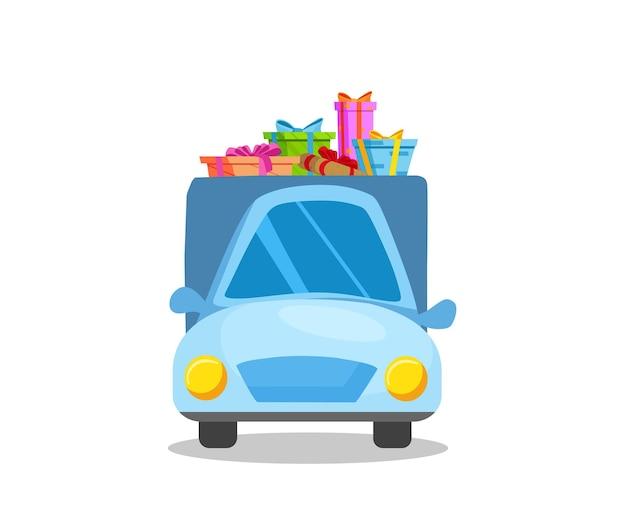 Samochód przewozi prezenty świąteczne. ilustracja kreskówka wektor.