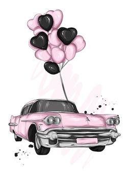 Samochód retro i serca
