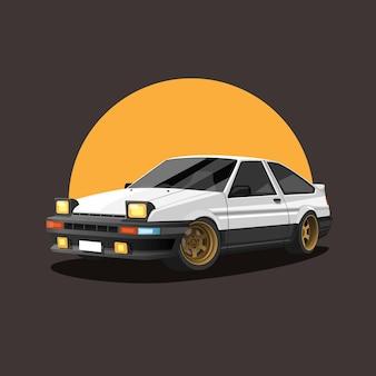 Samochód retro na samochód wyścigowy o zachodzie słońca drift koncepcji