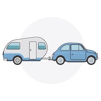 Samochód retro z przyczepą kempingową - podróż zabytkowym samochodem