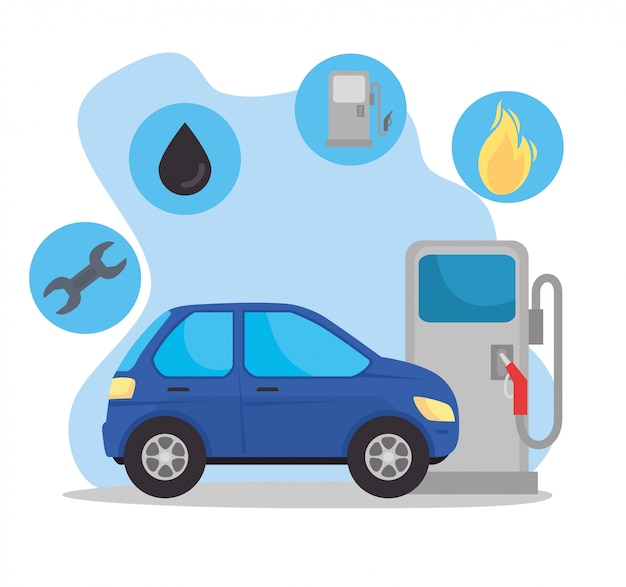 Samochód sedan pojazdu na stacji paliw z zestawem okręgów kształt ilustracji wektorowych paliwa paliwowego