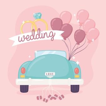 Samochód ślubny z balonami