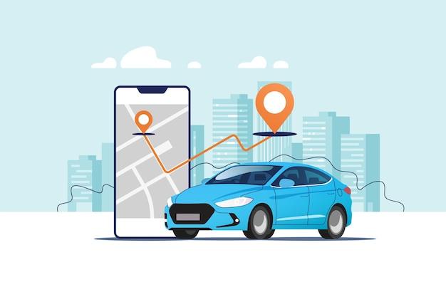 Samochód, smartfon z trasą na tle krajobrazu miejskiego. systemy nawigacji samochodowej i satelitarnej.