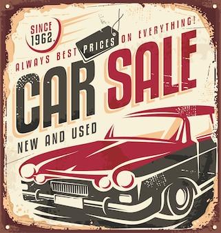 Samochód sprzedaż projekt retro cyny znak