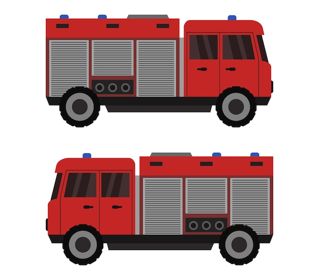Samochód strażacki na białym tle