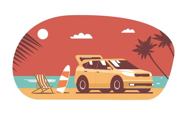 Samochód suv z bagażem na tle tropikalny krajobraz. ilustracja wektorowa płaski.