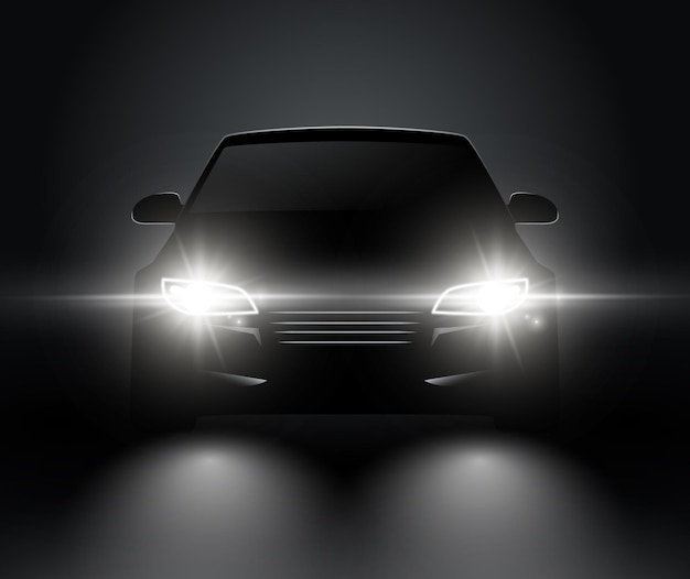 Samochód światła realistyczny widok z przodu sylwetka. reflektory samochodowe wektorowe w ciemności