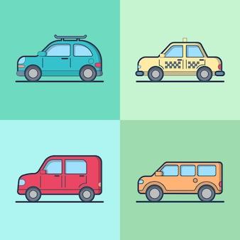 Samochód taksówka samochód jeep suv pojazd sedan hatchback fajny zestaw transportowy.