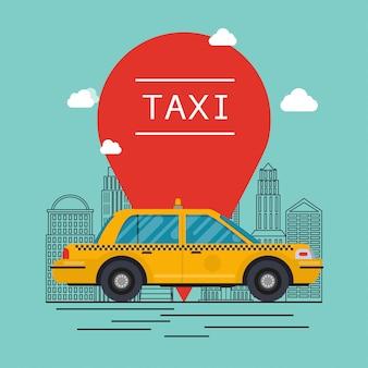 Samochód taxi. nowoczesne mieszkanie kreatywne projektowanie graficzne informacji na publicznej taksówce.