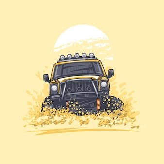 Samochód terenowy na wzgórzach pustyni podniósł kurz ilustracja