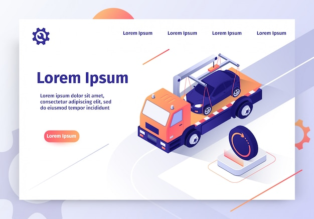 Samochód tow company online service vector web banner