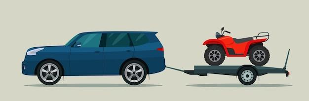 Samochód typu suv holuje przyczepę z quadem. ilustracja płaski.