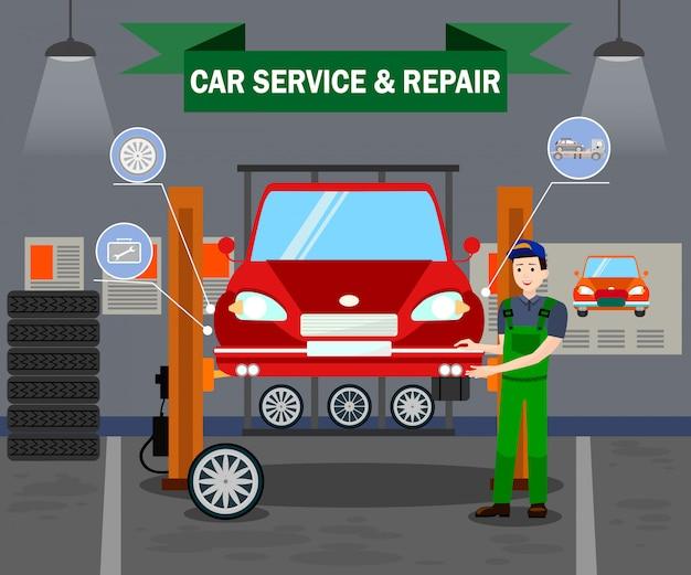 Samochód usługi i naprawy płaski wektor szablon transparent