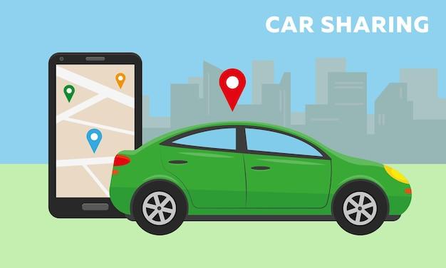 Samochód w mieście i duży smartfon z aplikacją carsharing na ekranie
