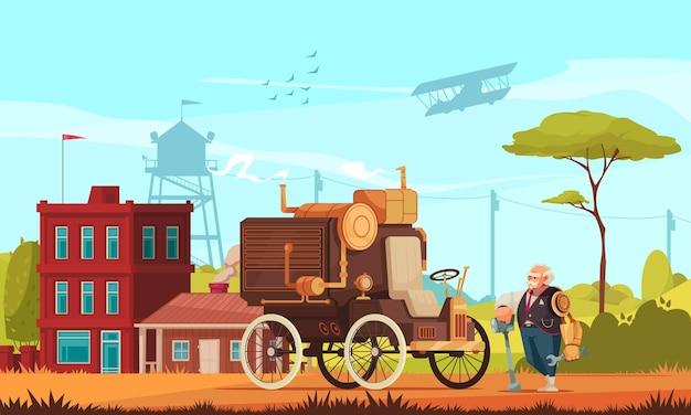 Samochód w stylu steampunk i stary człowiek z ramieniem robota trzymającego klucz na zewnątrz