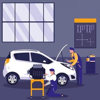 Samochód w warsztacie serwisowym z zespołem mechaników