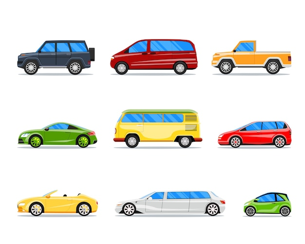 Samochód wektor zestaw w stylu płaski. ilustracja jeep i cabrio, limuzyna i hatchback, van i sedan
