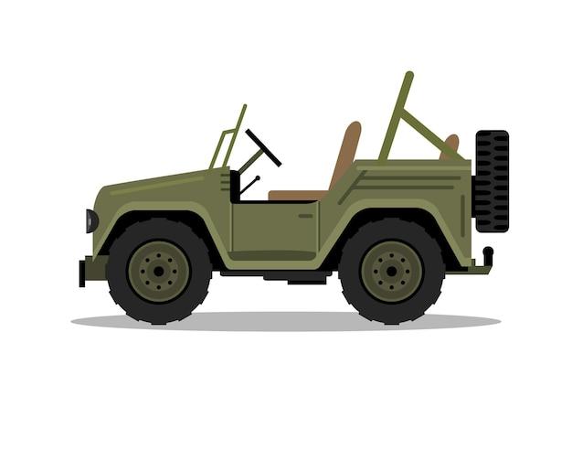 Samochód wojskowy jeep. humvee wektor hummer kreskówka płaskie safari oddroad ciężarówka ilustracja.