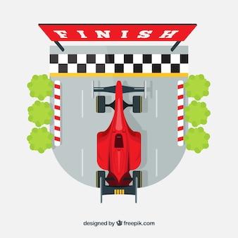 Samochód wyścigowy formuły 1 na mecie z widokiem z góry
