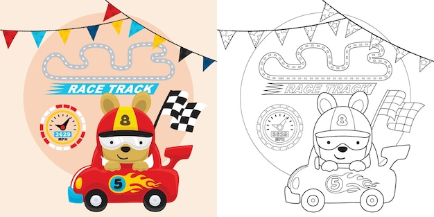 Samochód wyścigowy kreskówka z zabawnym zawodnikiem niosącym flagę mety