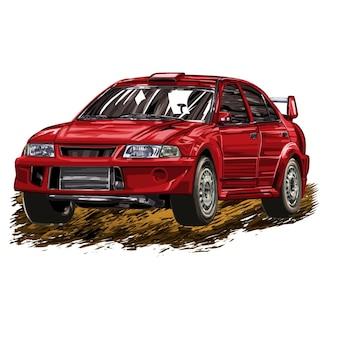 Samochód wyścigowy na białym tle. ilustracji wektorowych.