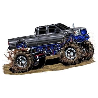 Samochód wyścigowy na białym tle. monster truck. ilustracji wektorowych.