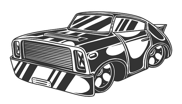 Samochód wyścigowy, sportowy hot rod, szybki pojazd. na białym tle