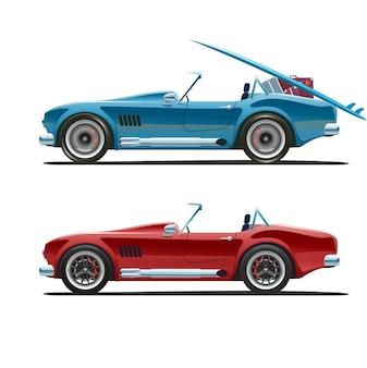 Samochód wyścigowy, widok z boku. kabriolet w różnych kolorach. w ruchu i nieruchomo. załadowany i pusty, przeprowadzka do ciepłych krajów. ilustracja