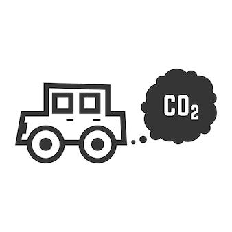 Samochód z czarnym konturem emituje dwutlenek węgla. pojęcie zanieczyszczenia smogiem, uszkodzenia, zanieczyszczenia, śmieci, produktów spalania. na białym tle. płaski trend w nowoczesnym stylu ilustracji wektorowych