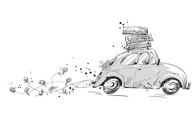 Samochód z dekoracjami ślubnymi i zapakowany w walizki jadące na miesiąc miodowy, ilustracji wektorowych