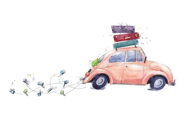 Samochód z dekoracjami ślubnymi z walizkami na akwareli na miesiąc miodowy