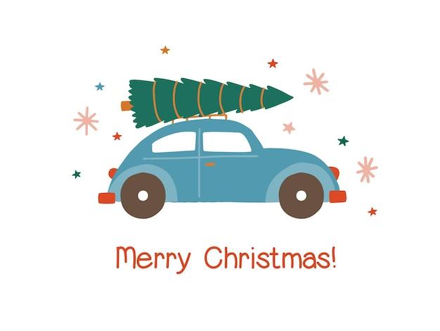 Samochód z ilustracji wektorowych płaski choinki. samochód przewożący specjalną dostawę xmas na białym tle. zimowy rynek wakacyjny. świąteczna kartka z życzeniami świątecznymi, element projektu pocztówki.