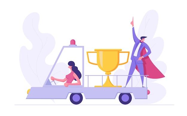 Samochód z nagrodą i super biznesmenem pokazujący osiągnięcie